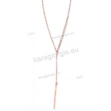 Κολιέ σε ροζ χρυσό Κ14 fashion jewellery σε γραβάτα με άσπρες πέτρες ζιργκόν.