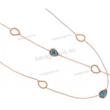 Σέτ rose gold Κ14 fashion jewellery σε πουάρ σχέδιο κολιέ, βραχιόλι με τιρκουάζ πέτρες.