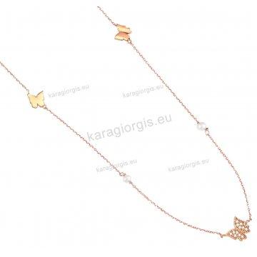 Σέτ rose gold Κ14 fashion jewellery με περιμετρικές πεταλούδες κολιέ, βραχιόλι με άσπρες πέτρες ζιργκόν.