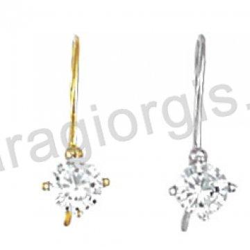 Σκουλαρίκι κρεμαστό χρυσό ή λευκόχρυσο Κ14 με μονόπετρο σε λουστρέ φινίρισμα με άσπρη πέτρα ζιργκόν.