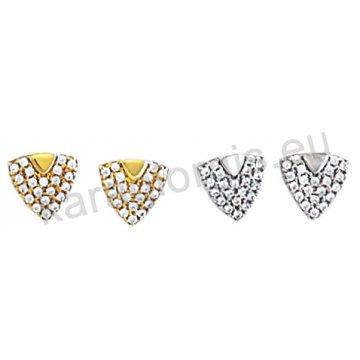 Σκουλαρίκι Κ14 πάνω στο αυτί χρυσό ή λευκόχρυσο σε τρίγωνο με άσπρες πέτρες ζιργκόν.