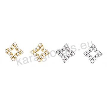 Σκουλαρίκι Κ14 πάνω στο αυτί χρυσό ή λευκόχρυσο σε ρόμβο με άσπρες πέτρες ζιργκόν.