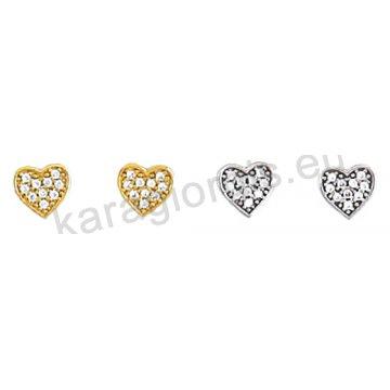 Σκουλαρίκι Κ14 πάνω στο αυτί χρυσό ή λευκόχρυσο σε καρδούλα με άσπρες πέτρες ζιργκόν.