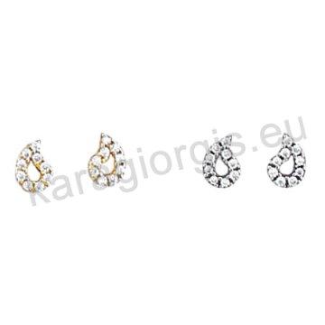 Σκουλαρίκι Κ14 πάνω στο αυτί χρυσό ή λευκόχρυσο σε πουάρ με άσπρες πέτρες ζιργκόν.