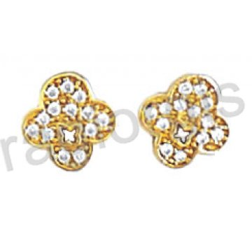 Σκουλαρίκι Κ14 πάνω στο αυτί χρυσό ή λευκόχρυσο σε σταυρουδάκι με άσπρες πέτρες ζιργκόν.