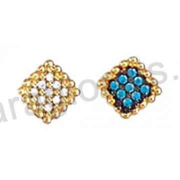 Σκουλαρίκι Κ14 πάνω στο αυτί χρυσό ή λευκόχρυσο σε ρόμβο με χρωματιστές πέτρες ζιργκόν.