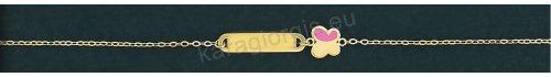 Παιδική ταυτότητα για κορίτσι χρυσή Κ14 με πεταλουδίτσα σε σμάλτο.