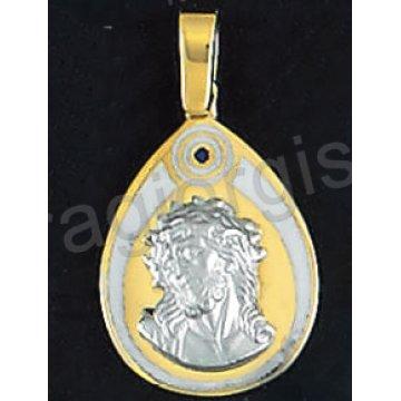 Φυλαχτό μενταγιόν για αγοράκι χρυσό με λευκόχρυσο Χριστούλι Κ14 σε φίλντισι.