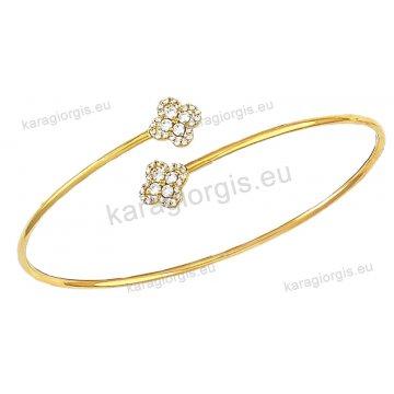 Χειροπέδα βραχιόλι χρυσό γυναικείο Κ14 με αντικριστά λουλούδια με πέτρες ζιργκόν.
