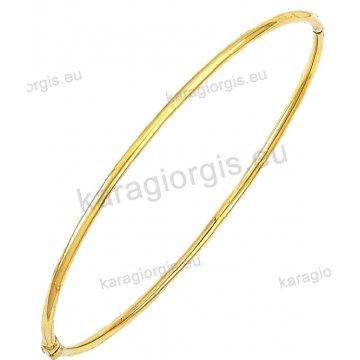 Χειροπέδα βραχιόλι χρυσό γυναικείο Κ14 σε λουστρέ φινίρισμα.