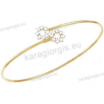 Χειροπέδα βραχιόλι χρυσό γυναικείο Κ14 με αντικριστές πέρλες.