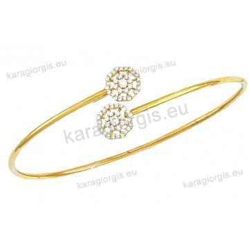 Χειροπέδα βραχιόλι χρυσό γυναικείο Κ14 με αντικριστές ροζέτες με πέτρες ζιργκόν.