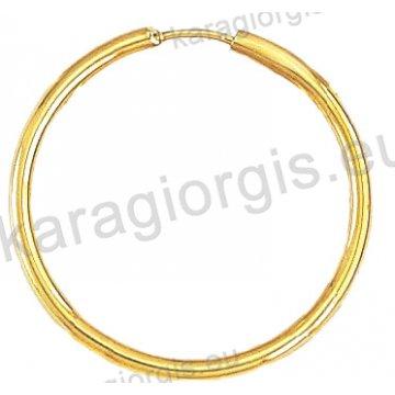 Κρίκοι χρυσοί Κ14 σε λουστρέ φινίρισμα διαμέτρου 2,80cm και πάχος 2,2mm.