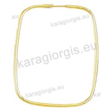 Κρίκοι χρυσοί Κ14 σε λουστρέ φινίρισμα τετράγωνα διαμέτρου 3,40cm.