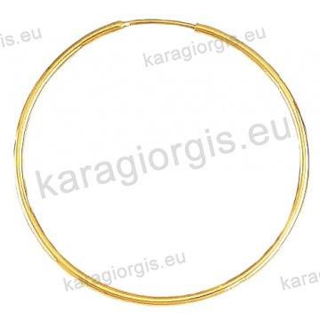 Κρίκοι χρυσοί Κ14 σε λουστρέ φινίρισμα διαμέτρου 3,70cm και πάχος 1,6mm.