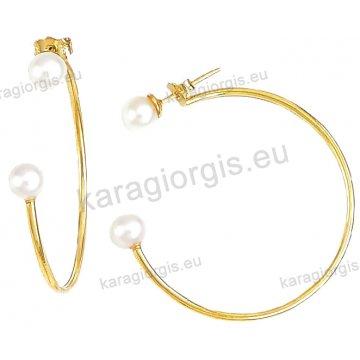 Κρίκοι χρυσοί Κ14 σε λουστρέ φινίρισμα με πέρλες διαμέτρου 3,50cm.