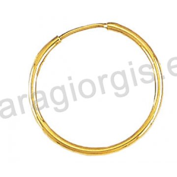 Κρίκοι χρυσοί Κ14 σε λουστρέ φινίρισμα διαμέτρου 1,90cm και πάχος 1,6mm.