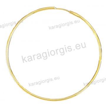 Κρίκοι χρυσοί Κ14 σε λουστρέ φινίρισμα διαμέτρου 4,90cm και πάχος 1,6mm.