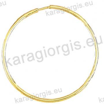 Κρίκοι χρυσοί Κ14 σε λουστρέ φινίρισμα διαμέτρου 3,20cm και πάχος 1,6mm.