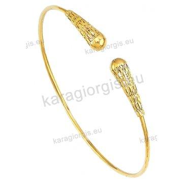 Χειροπέδα βραχιόλι χρυσό Κ14 γυναικείο με αντικριστές χρυσές μπίλιες.
