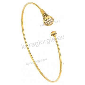 Χειροπέδα βραχιόλι χρυσό Κ14 γυναικείο με αντικριστές χρυσές μπίλιες με πέτρες ζιργκόν.