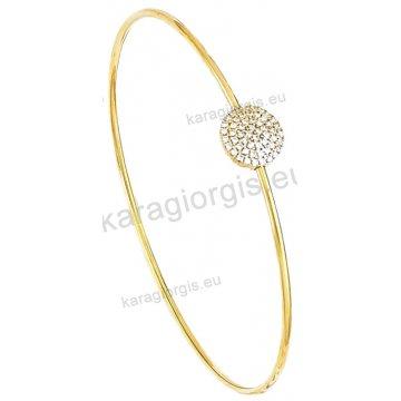 Χειροπέδα βραχιόλι χρυσό Κ14 γυναικείο με άσπρες πέτρες ζιργκόν.