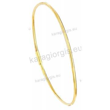 Χειροπέδα βραχιόλι χρυσό Κ14 γυναικείο σε λουστρέ φινίρισμα.