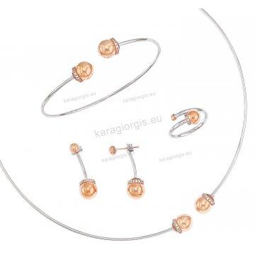 Σετ λευκόχρυσο με ρόζ χρυσό Κ14 αρραβώνα-γάμου με κολιέ σε λαιμαριά, βραχιόλι, σκουλαρίκια και δαχτυλίδι με άσπρες πέτρες ζιργκόν.