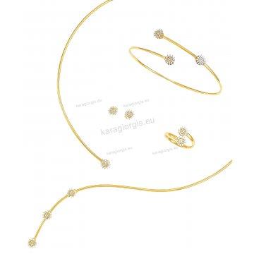 Σετ χρυσό Κ14 αρραβώνα-γάμου με κολιέ σε λαιμαριά γραβάτα, βραχιόλι, σκουλαρίκια και δαχτυλίδι με άσπρες πέτρες ζιργκόν.