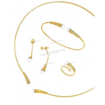 Σετ χρυσό Κ14 αρραβώνα-γάμου με κολιέ σε λαιμαριά, βραχιόλι, σκουλαρίκια και δαχτυλίδι με άσπρες πέρλες.