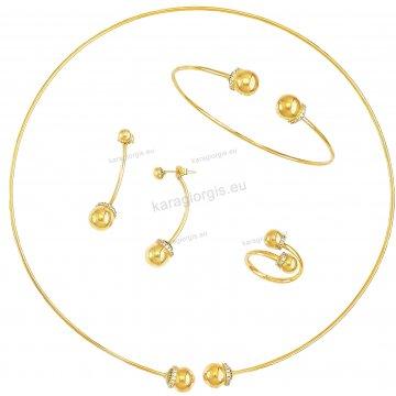 Σετ χρυσό Κ14 αρραβώνα-γάμου με κολιέ σε λαιμαριά, βραχιόλι, σκουλαρίκια και δαχτυλίδι με άσπρες πέτρες ζιργκόν.