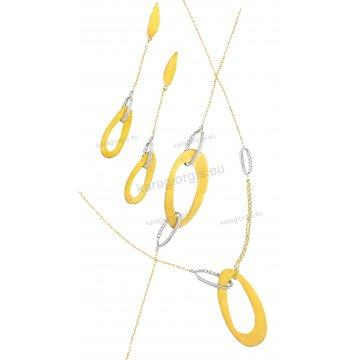 Σετ δίχρωμο Κ14 αρραβώνα-γάμου με μεγάλους κρίκους σε fashion jewellery με κολιέ, βραχιόλι, σκουλαρίκια με άσπρες πέτρες ζιργκόν σε λουστρέ ή ματ φινίρισμα.