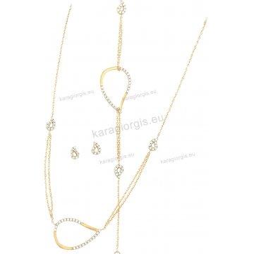 Σετ δίχρωμο Κ14 αρραβώνα-γάμου με κρίκους σε fashion jewellery με κολιέ, βραχιόλι, σκουλαρίκια με άσπρες πέτρες ζιργκόν.