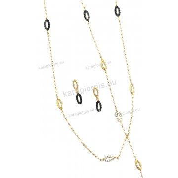 Σέτ κοσμημάτων χρυσό Κ14 με περιμετικούς οβάλ κύκλους σε fashion jewellery με κολιέ, βραχιόλι, σκουλαρίκια με άσπρες και μαύρες πέτρες ζιργκόν.