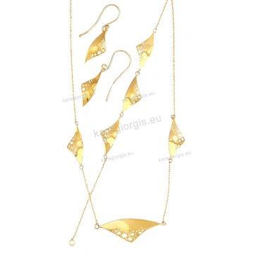 Σέτ κοσμημάτων χρυσό Κ14 με λουστρέ τρίγωνα σε fashion jewellery με κολιέ, βραχιόλι, σκουλαρίκια.