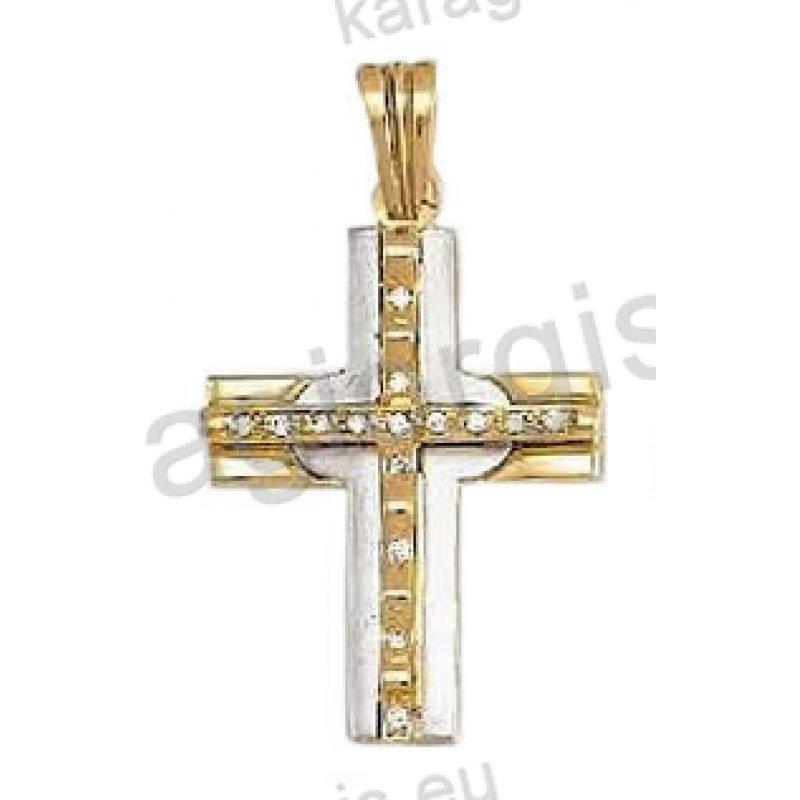Βαπτιστικός σταυρός για κορίτσι χρυσός με άσπρες πέτρες ζιργκόν και  λευκόχρυσο σε ματ φινίρισμα 353b1643f6c