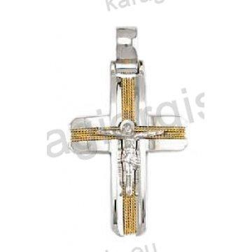 Βαπτιστικός σταυρός για αγόρι λευκόχρυσος με χειροποίητο χρυσό σύρμα εσταυρωμένο και λουστρέ φινίρισμα
