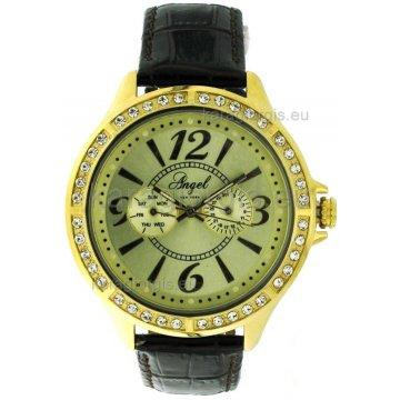 Ρολόι ANGEL NEW YORK γυναικείο επίχρυσο με δερμάτινο λουράκι 46mm 461acae2fb8
