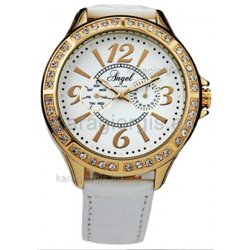 Ρολόι ANGEL NEW YORK γυναικείο επίχρυσο με δερμάτινο λουράκι 46mm 95003230348