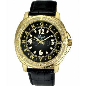 Ρολόι ANGEL NEW YORK γυναικείο επίχρυσο με δερμάτινο λουράκι 43mm fc9b5482808