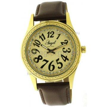 Ρολόι ANGEL NEW YORK γυναικείο με δερμάτινο λουράκι 41mm