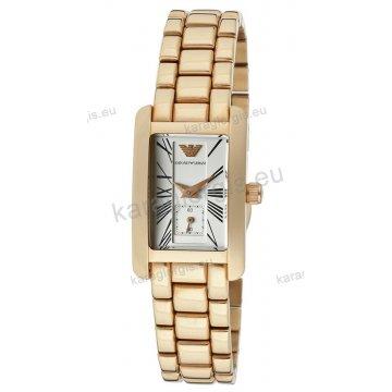 Ρολόι ARMANI γυναικείο τετράγωνο με επίχρυσο μπρασελέ 20mm