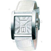 Ρολόι ARMANI ανδρικό-γυναικείο τετράγωνο με άσπρο δερμάτινο λουράκι 38mm