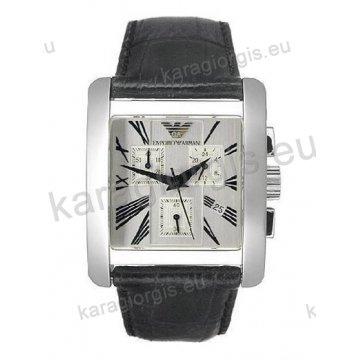 Ρολόι ARMANI ανδρικό-γυναικείο χρονογράφος τετράγωνο με μαύρο δερμάτινο λουράκι 34mm