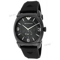 Ρολόι emporio Armani ανδρικό μαύρο ανοξείδωτο ατσάλι και μαύρο δερμάτινο λουράκι 45mm