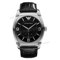 Ρολόι emporio Armani ανδρικό-γυναικείο με μαύρο δερμάτινο λουράκι 45mm