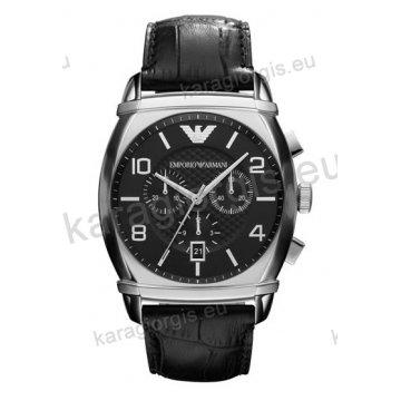 Ρολόι emporio Armani ανδρικό-γυναικείο χρονογράφος με μαύρο δερμάτινο λουράκι 42mm