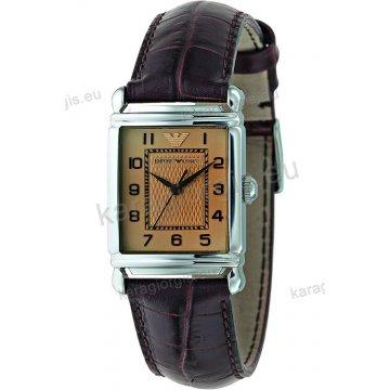 Ρολόι emporio Armani γυναικείο τετράγωνο με καφέ δερμάτινο λουράκι 24mm