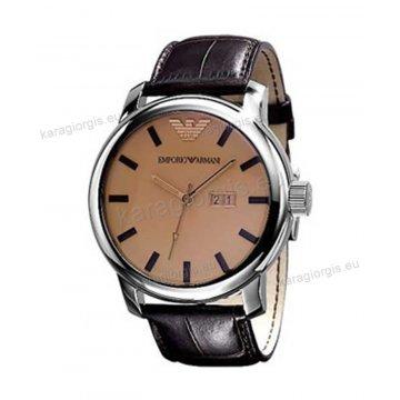 Ρολόι emporio armani ανδρικό-γυναικείο στρογγυλό με καφέ δερμάτινο λουράκι 47mm