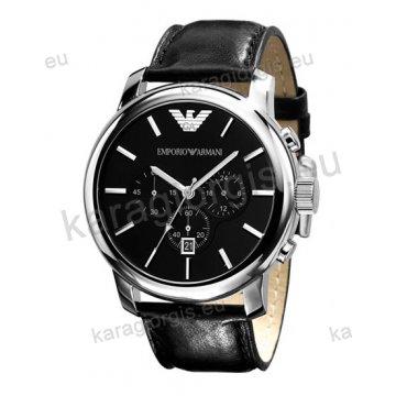 Ρολόι emporio armani ανδρικό-γυναικείο στρογγυλό χρονογράφος με μαύρο δερμάτινο λουράκι 47mm
